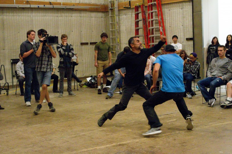 Professional stunt actors stage a fight for Dodge College students during interterm class on the art and science of stunt filmmaking.