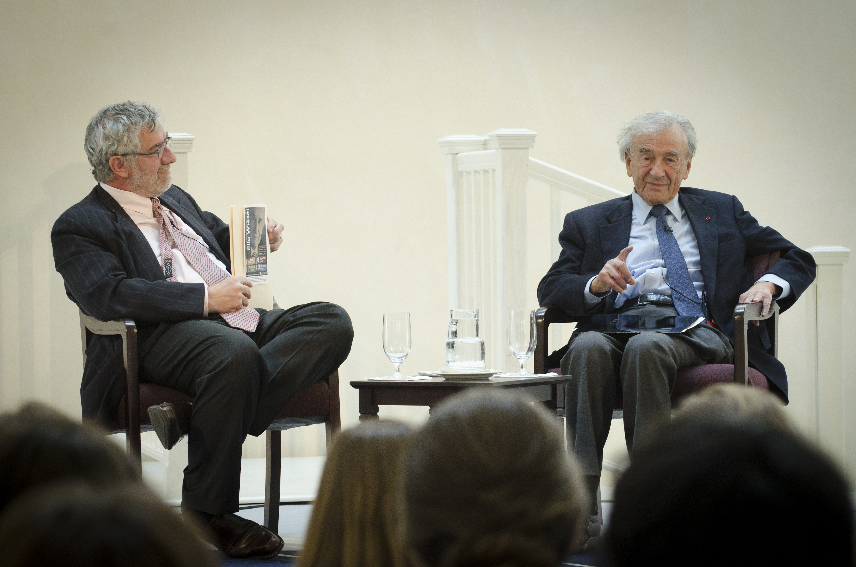 Chancellor Daniele Struppa and Nobel Laureate Elie Wiesel in conversation Monday at the first of four campus talks this week.