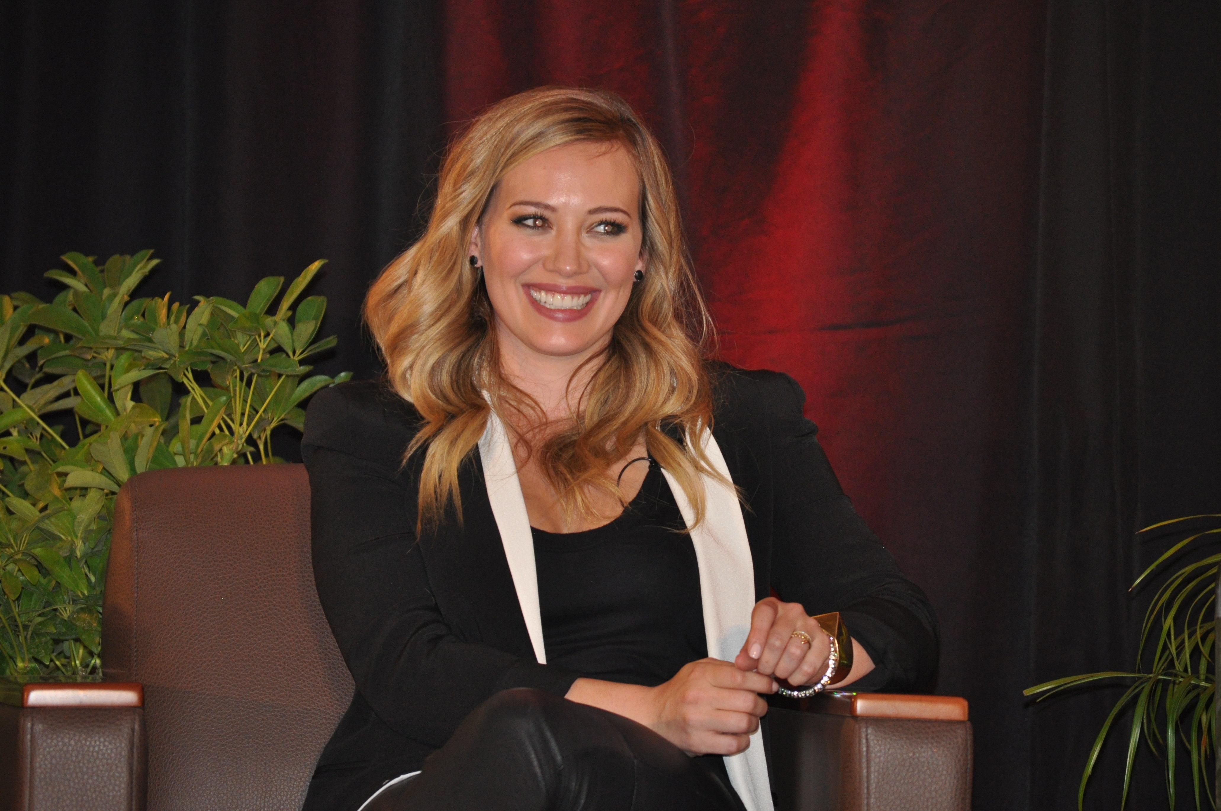 Hilary Duff addressed an audience of Chapman University students, encouraging them to make time in their lives for humanitarian causes.