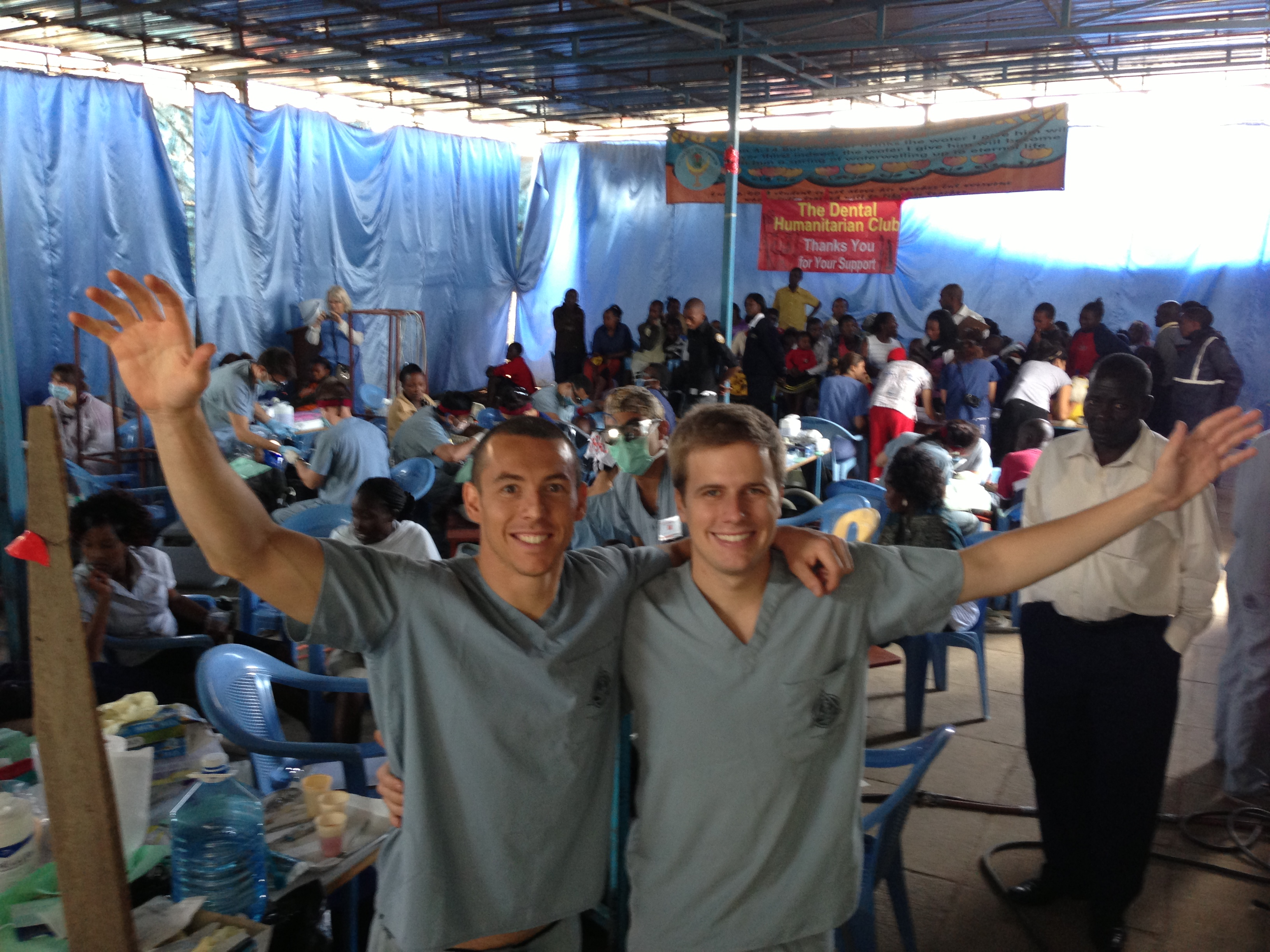 Chapman University alumnus Sean Vreeburg, right, along with fellow dental student Marco Savittieri, organized and led a large-scale humanitarian dental trip to Kenya.