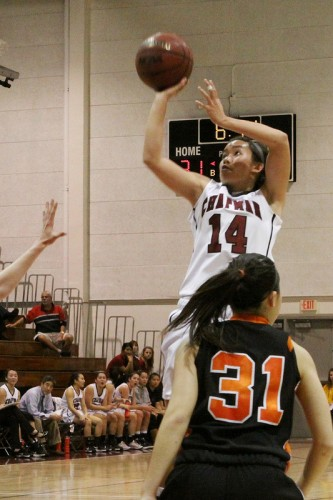 Chapman sophomore Nicole Moy (No. 14) gets open for a shot during the Panthers' win against Caltech.