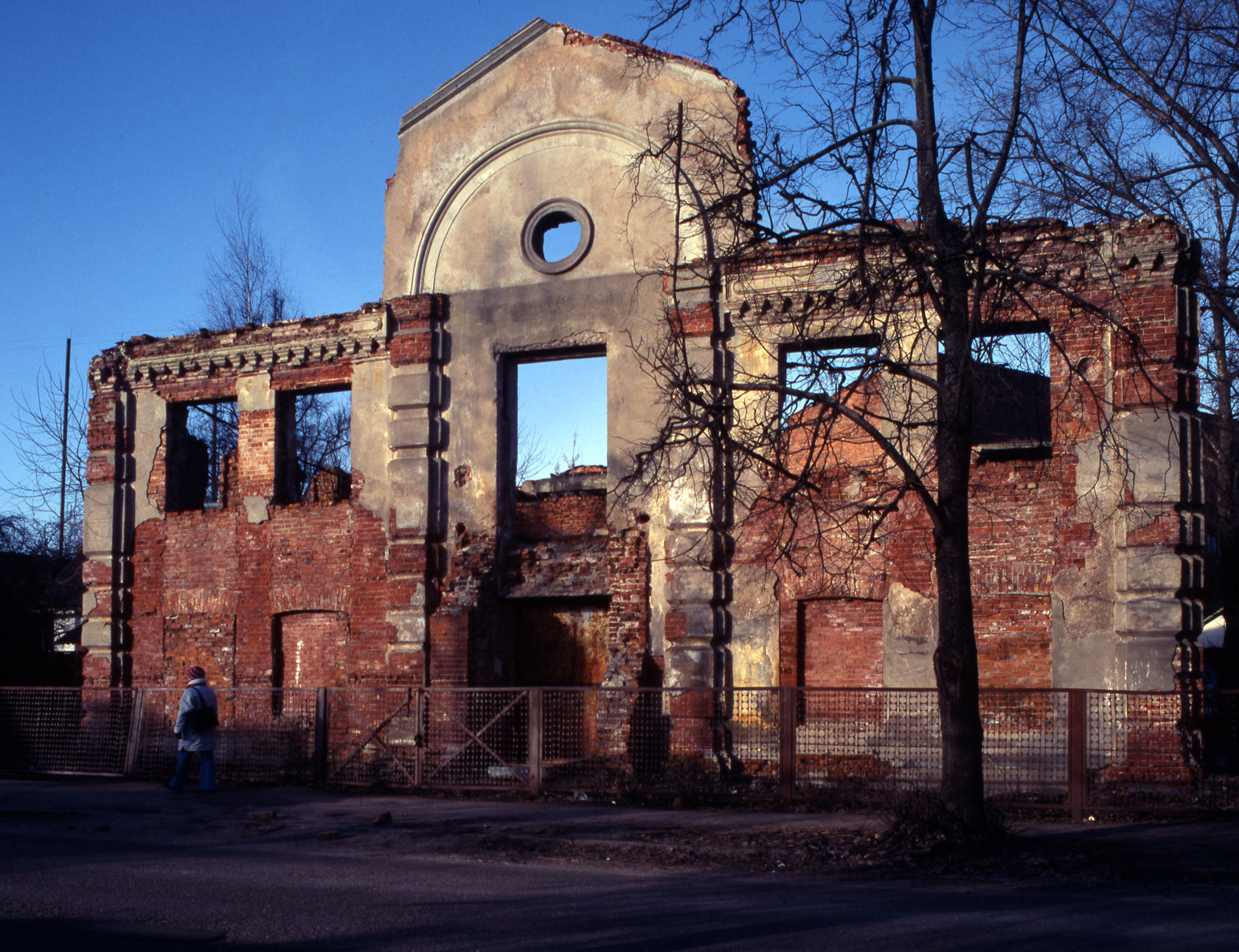 A shell of a synagogue damaged during the Holocaust still stands in Vitebsk, Belarus.