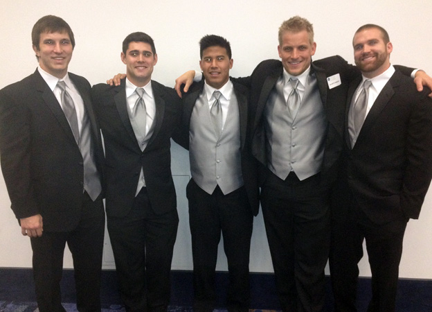 Seniors Michael Mehlhaff, Cameron Cutter, Kellen Matsuno, and Kevin Anderson after their Hall of Fame induction.