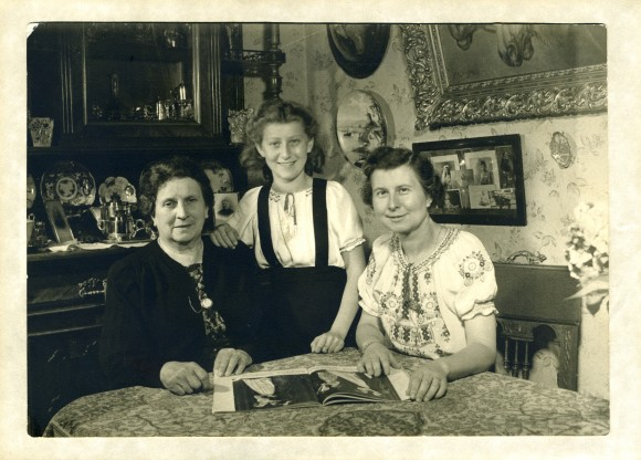 black and white photo of women smiling