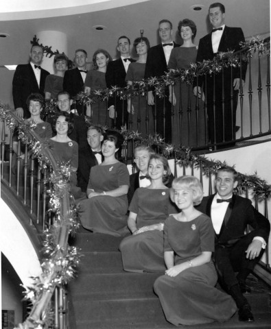 Choir members gather for the first Wassail. The festive concert was a much simpler affair at its beginning.