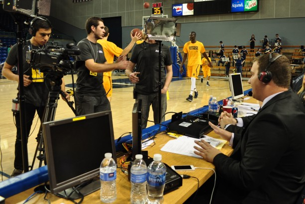 crew filming announcer