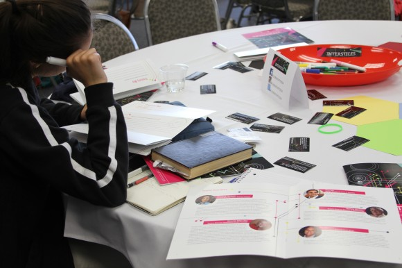 A student works on her creativity map during a break at Wilkinson College creativity panel.