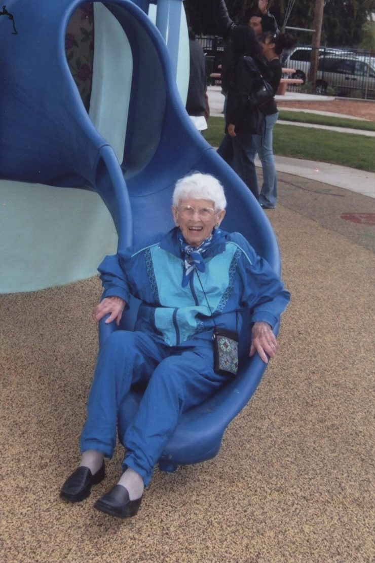 woman on a slide