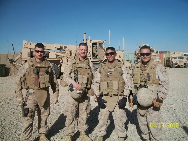 Timoteo Orendain '14, far right, pictured with fellow U.S. Marines in Afghanistan.