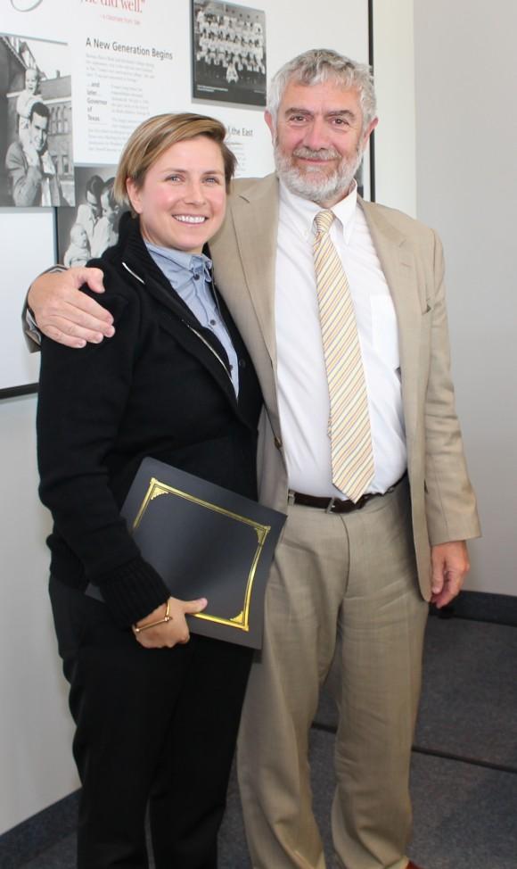 Receiving this year's Junior Wang-Fradkin Professorship is Lia Halloran.