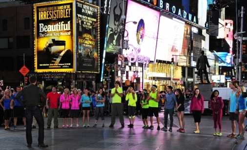 Du and Hour, third team from the right, and the other contestants began the race in Times Square.
