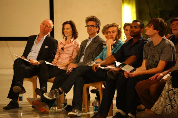 The artists before a 2013 WordTheatre performance at Chapman University included, from left, Xander Berkeley, Sarah Clarke, David Means, Ryan Hines and Sterling Sulieman.