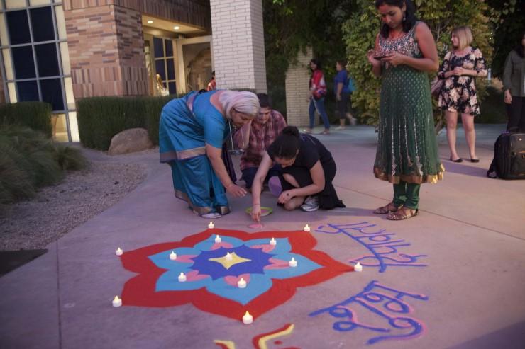 group drawing chalk art