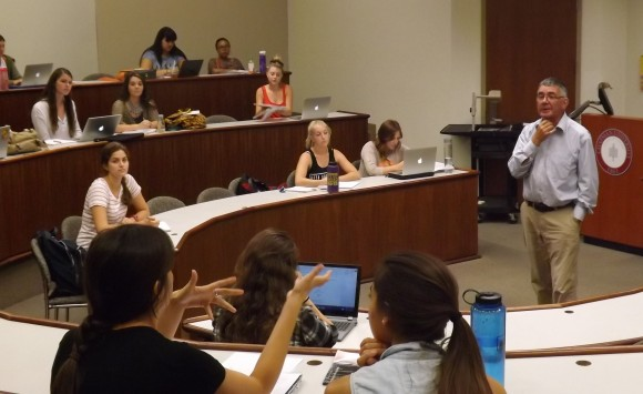 Peace scholar and activist Paul Arthur leads a discussion in his fall semester peace studies course.