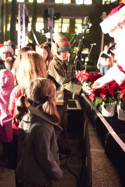 Santa talking to people at Winterfest