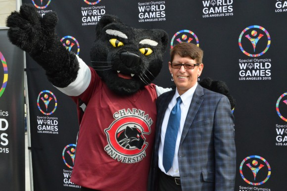 man and pete the panther smiling