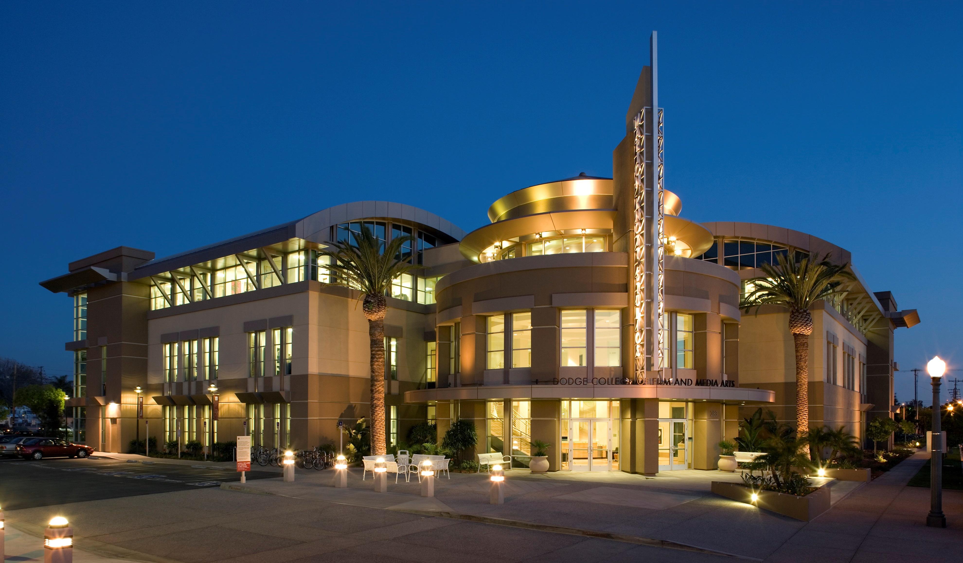 Marion Knott Studios, Dodge College, at night