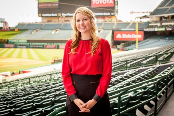 woman at a baseball stadium