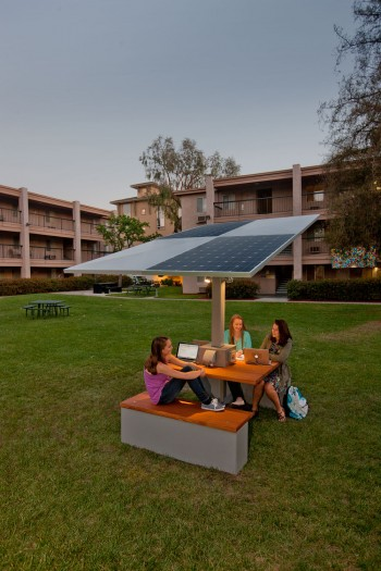 Students sitting at a solar table
