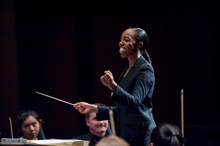 smiling woman conductor