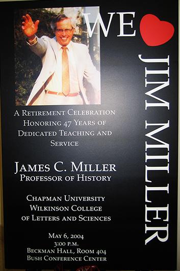 Poster for Jim Miller's retirement celebration at Chapman University in 2004