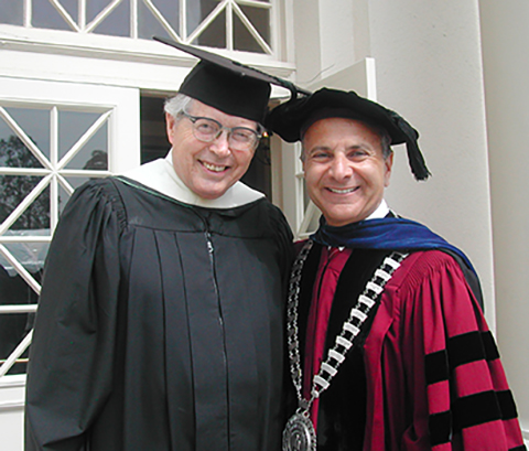 Jim Miller and Chapman President Jim Doti in 2003.
