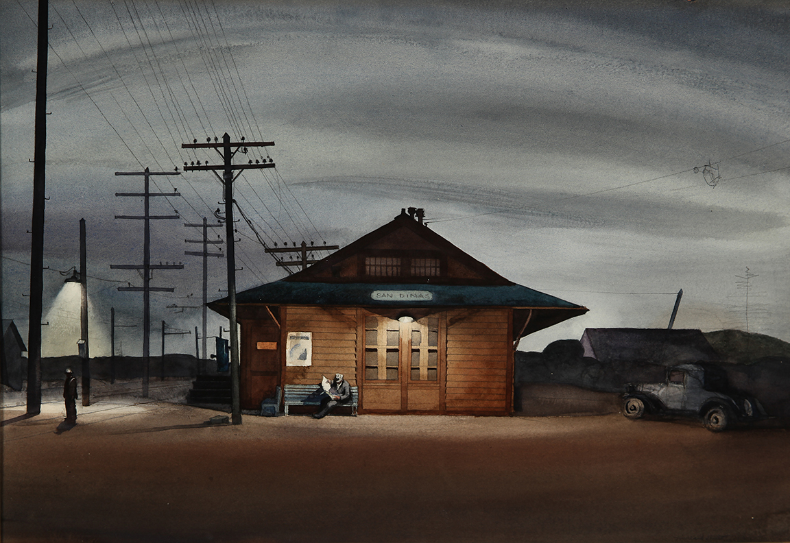"""San Dimas Train Station,"" 1933, by Millard Sheets"
