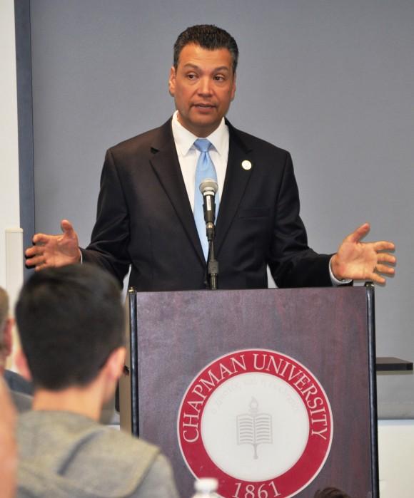 Secretary of State Alex Padilla speaking