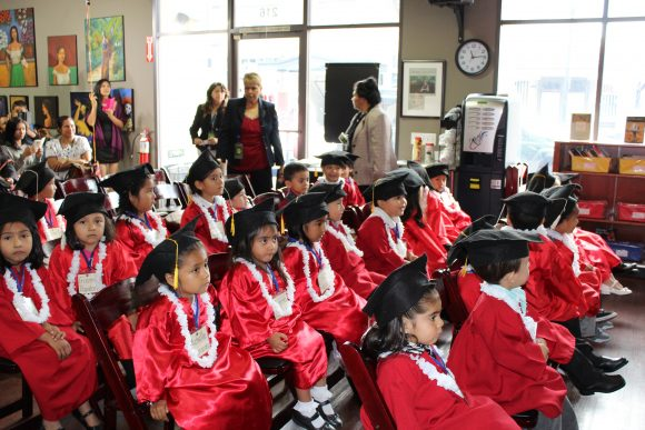 group of young children graduating.