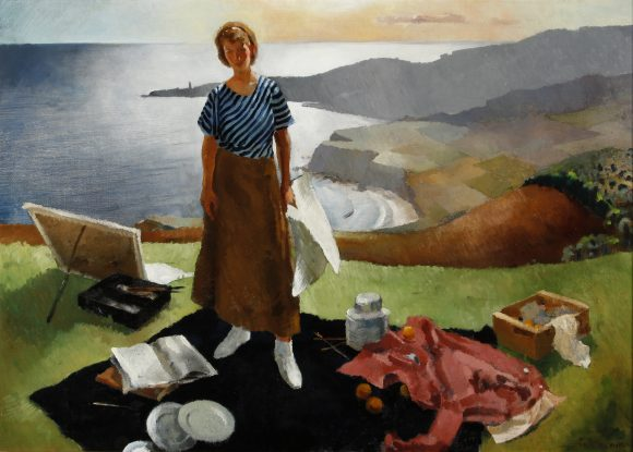 "Lee Blair, ""Mary By the Sea,"" 1934, oil on canvas, 34 x 48"", Hilbert Museum of California Art."