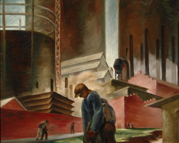 "Ben Norris: ""Discouraged Workers,"" 1936, oil on canvas, 24 x 30"", Hilbert Museum of California Art."