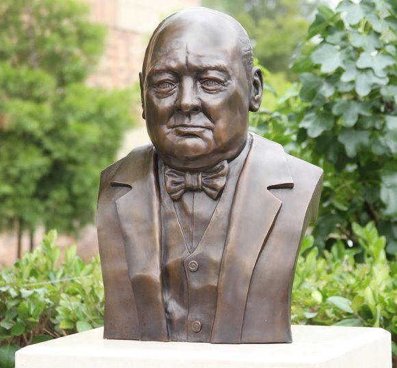 A bronze bust of Sir Winston Churchill