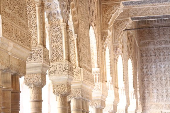 Geometric designs on the arches and walls of the Moorish stronghold the Alhambra in Granada, Spain.