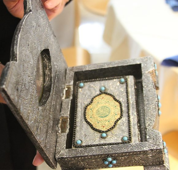 This elegantly boxed and decorated Quran, presented to Chapman University by Fareed Farukhi, once belonged to the Prince of Jordan.