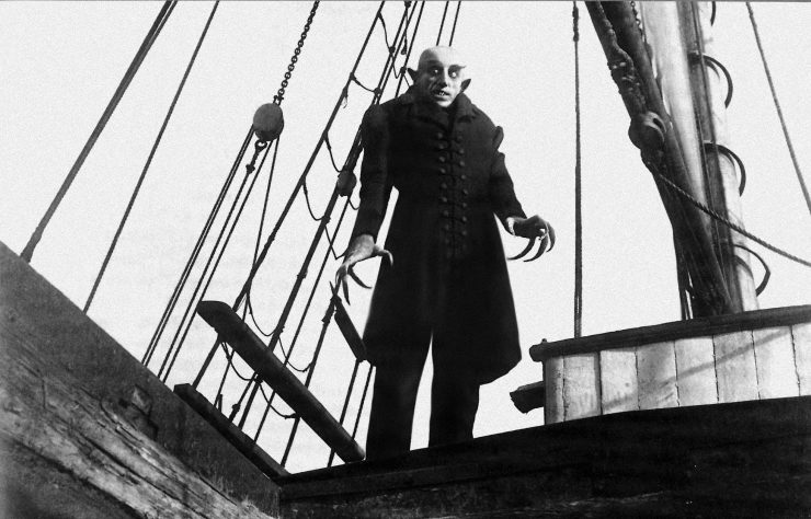 "Actor Max Shreck as the vampire count in the 1922 silent horror classic ""Nosferatu."""