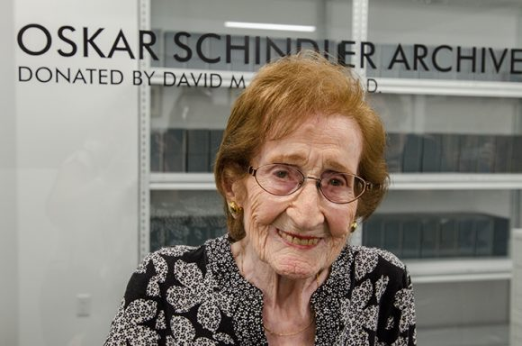 Mila Page, 96, who was rescued by Oskar Schindler, attended the dedication of the Oskar Schindler Archive in Chapman's Leatherby Libraries on Nov. 10.