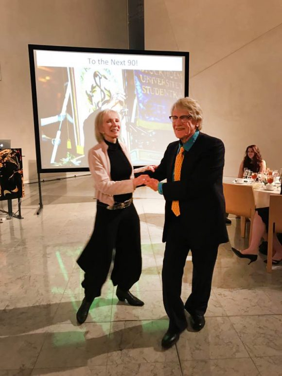 Nobel laureate Vernon Smith and wife Candace cut up the dance floor with a blazing Kansas two-step at his 90th birthday celebration at Chapman University. Photo by Jim Doti.
