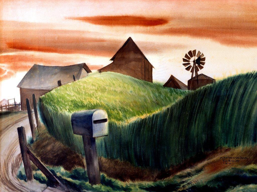 "Rex Brandt, ""On the Road to San Jacinto,"" 1938, watercolor."