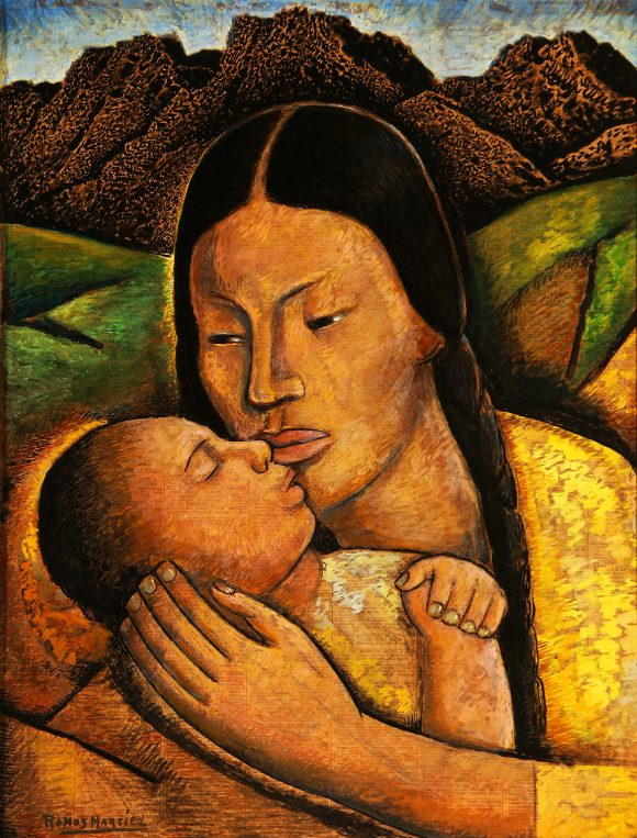 "Alfredo Ramos Martinez, ""Mother and Child,"" 1945, tempera on newsprint. Part of the ""Golden Dreams"" exhibition. Collection of Janet and Mark Hilbert."