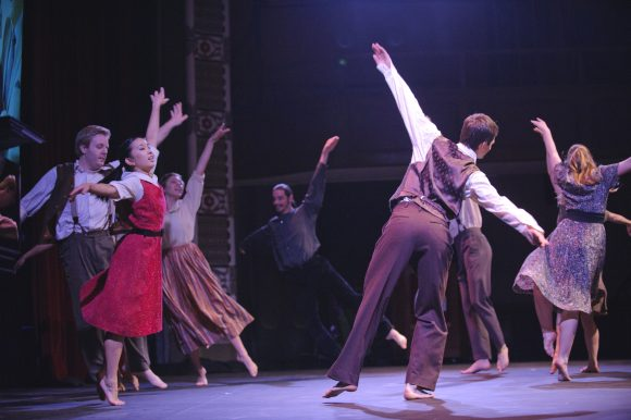 Young people dancing on stage