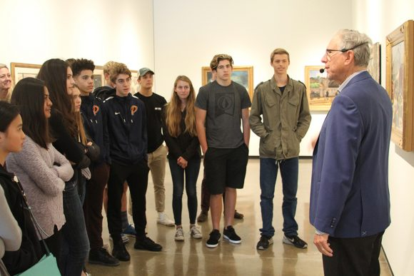 Hilbert Museum founder Mark Hilbert leads a tour for local high school students.