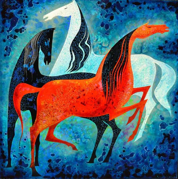 "Eyvind Earle, ""Three Noble Horses,"" 1993, oil. Gift of the Earle Family Trust to the Hilbert Museum."