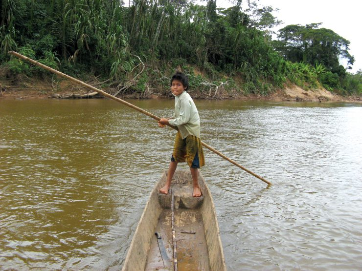 Boy on a canoe