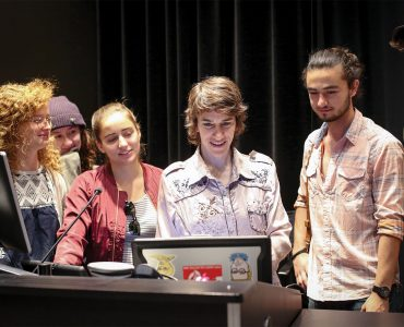 Sally with students