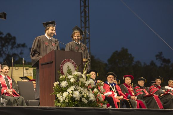 """The Duffer Brothers, creators of the Netflix hit """"Stranger Things,"""" spoke to the Class of 2019 during Closing Convocation in May."""