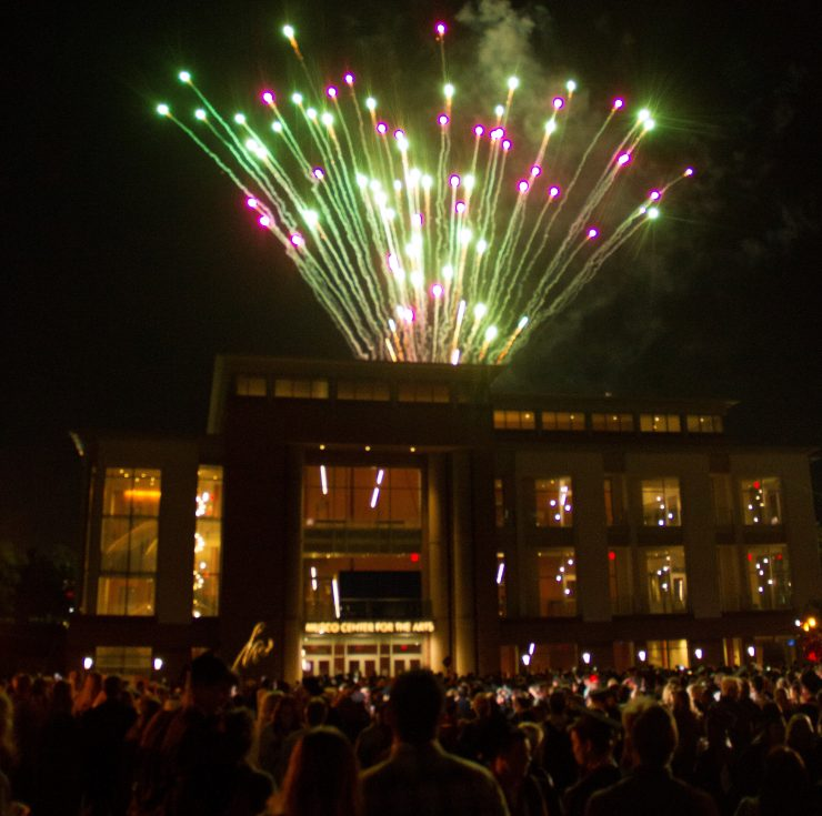Fireworks explode over the roof of Musco Center for the Arts after Closing Convocation.