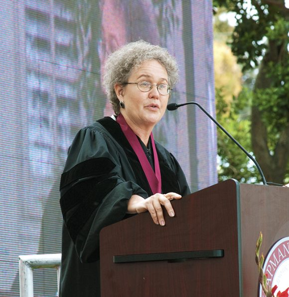 Dr. Linda Darling-Hammond speaks to the graduating class at Closing Convocation in 2010.