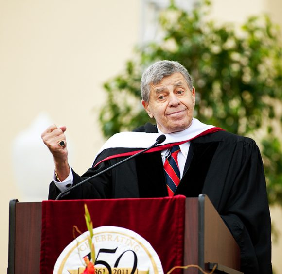 Legendary comedian Jerry Lewis jokes with the class of 2011 at Closing Convocation at Chapman University.