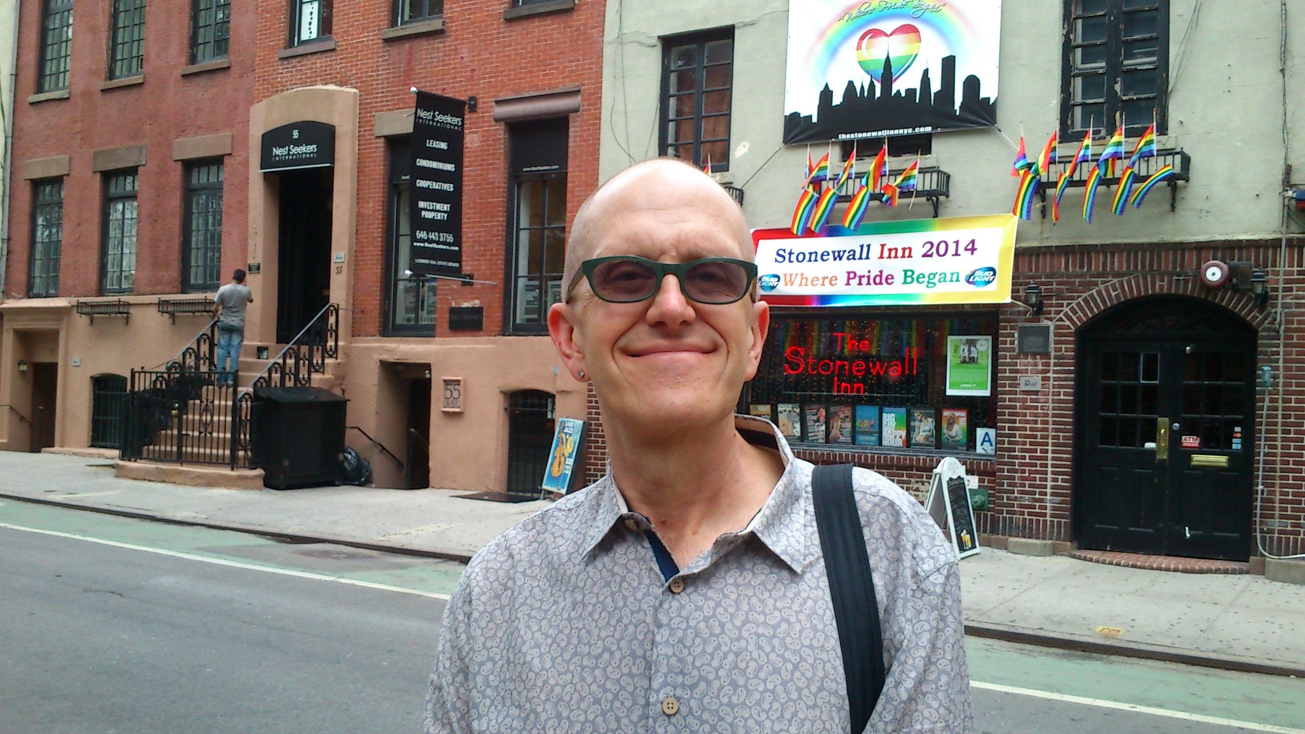 Professor Ian Barnard in front of the Stonewall Inn