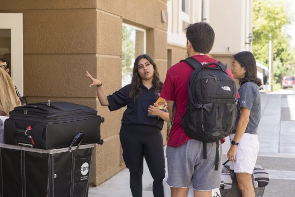 New Chapman student moving into Fenestra Living Learning Community.